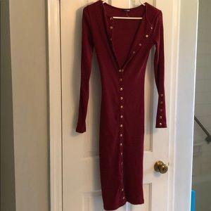 Burgundy bottom down dress